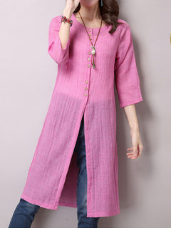 Elegant Women Solid Button Cotton Linen Long Thin Cardigan