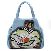 Women Cotton Casual Flower Embroidery Comfortable Small Handbags Shell Tote