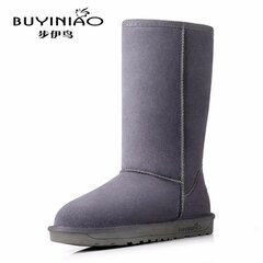 BUYINIAO Leather Pure Color Mid Calf Flat Snow Boots