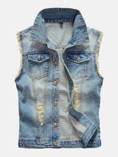 Большой размер Mens Denim жилет Vintage рукавов Риппед промытые джинсы жилетки