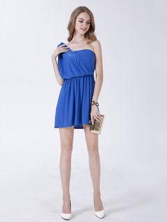 Sexy Solid Off Shoulder Pleated Party Mini Dress For Women