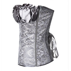 Women Sexy Frill Shirred Embroidered Corset Side Zip Satin Overbust Corselet