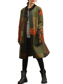 Vintage Women Color Block Printed Single Breasted Cotton Coat