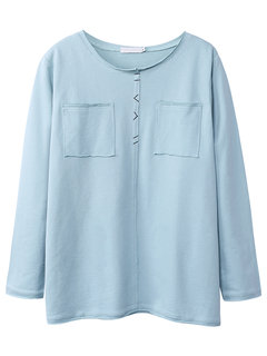 Casual Loose Pure Color Round Neck Pocket Blouse For Women
