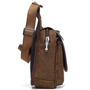 Men Breathable Canvas Patchwork Chest Pack Crossbody Bag