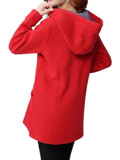 Casual Elegant Pure Color Hooded Long Sleeve Zipper Coat For Women