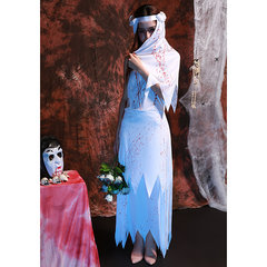Halloween Ghost Bride Cosplay White Dress Blood Stain Dress For Women