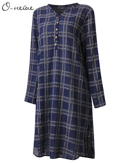 Casual Women Plaid Button V Neck Long Sleeve Mid-Length Blouse