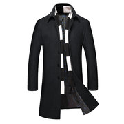 Mens Winter Trench Coat Woolen Warm Turndown Collar Slim Fit Long Coat