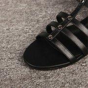 Гладиатор сандалии выдалбливают колено высокие плоские сандалии