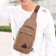Vintage Casual Man's Crossbody Bag Waterproof Canvas Chest Shoulder Bag For Man