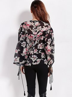 Women Casual Chiffon Floral Print Drawstring Tie Long Sleeve Blouse