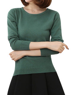 Women Casual Pure Color O-neck Long Sleeve Sweater