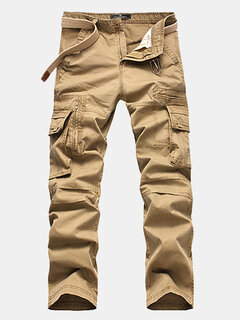 Mens Cotton Cargo Pants Straight Leg Solid Color Zippered Multi-pocket Casual Trouser