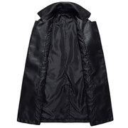 Korean Style Slim Casual Business PU Leather Epaulet Double-Breasted Pea Coat For Men
