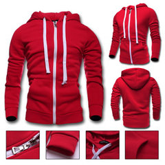 Mens Hoodies Solid Color Zipper Hood Fashion Casual Sport Hooded Tops