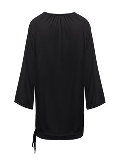 Casual Loose 3/4 Sleeve Solid Women Street Blouse