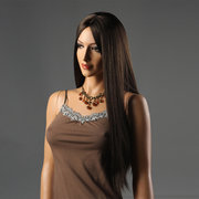 Women Long Straight Middle Parted Wig Gold Black