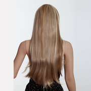 Fashion Female Long Blond Fiber Highlighted Straight Wig