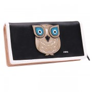 Retro Women Cute Animal Owl Pattern Long Wallet