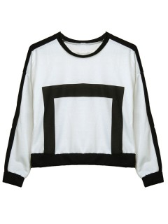 Fashion  Square Pattern Long-Sleeve O-Neck Loose T-Shirt