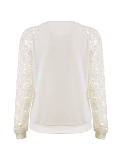 Hollow Lace Stitching Round Neck Long-Sleeved Sweater