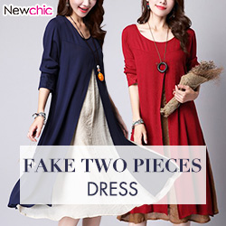 Vintage Fake Two Pieces Long Sleeve Cotton Dress