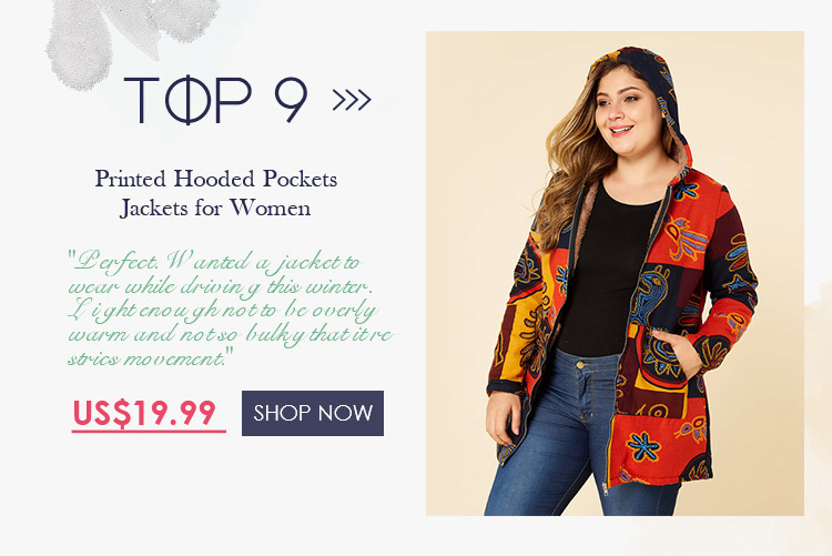 Printed Hooded Pockets Jackets for Women