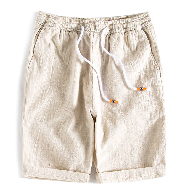 Mens Summer Linen Drawstring Breve Longitud de la rodilla de color sólido Shorts Casual
