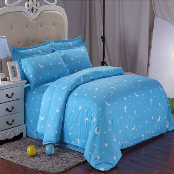 cotton blue stars moon printing bedding set bed sheet duvet cover single twin queen size - Queen Size Duvet Cover