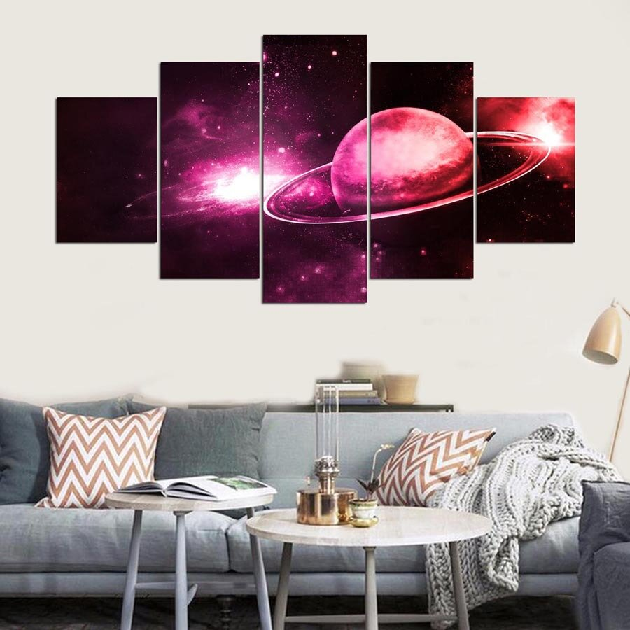 5 Cascade Red Planet Canvas Wall Painting