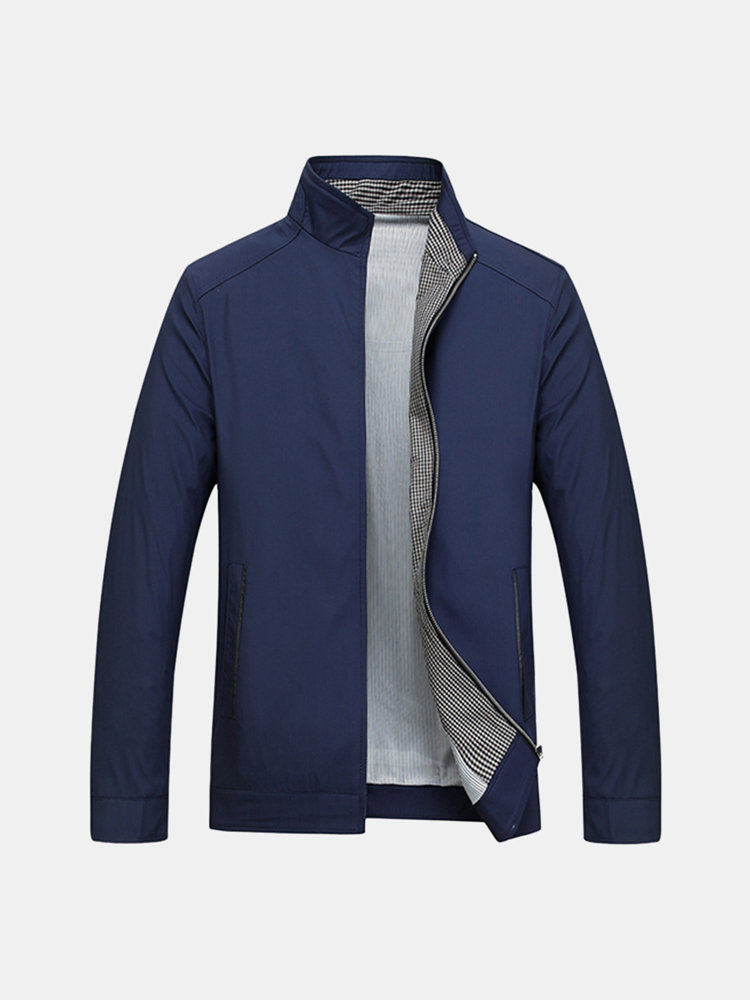 Business Casual Thin Stand Collar Solid Color Jackets for ...