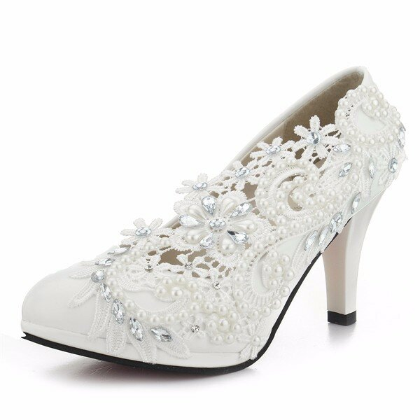 8cm Lace Flower Bead White Bridal Kitten Heel Wedding Shoes