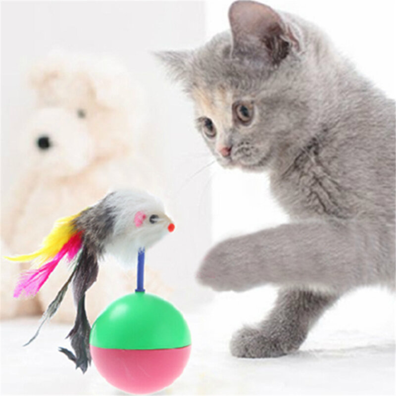 Interactive Cat Tumbler Toy Feather Toy Fluffy Mouse Crinkle Balls Cat Toys