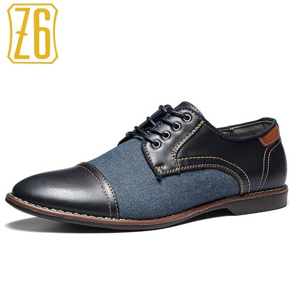 Z6 Men Cap Toe Denim Splicing Stylish Lace Up Dress Shoes