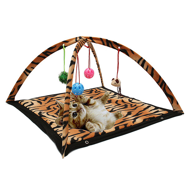 Cat Toys Tent Exercise Stay Active Play Folding Bed With Hanging Toy