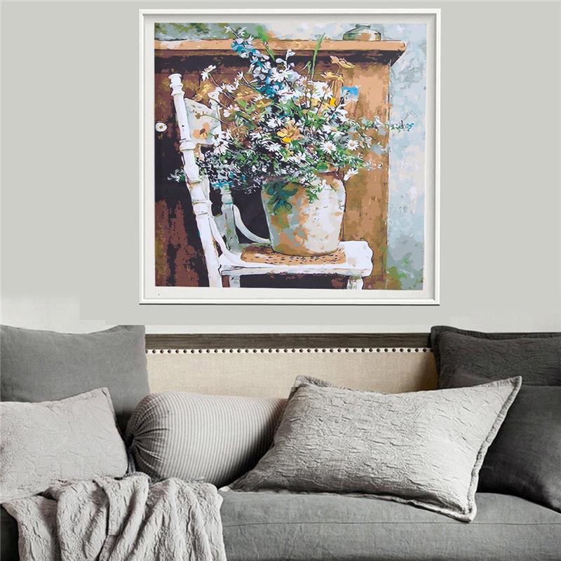 Gemälde Wohnzimmer, retro vase diy farbe nach zahl kits leinwand digital gemälde, Design ideen