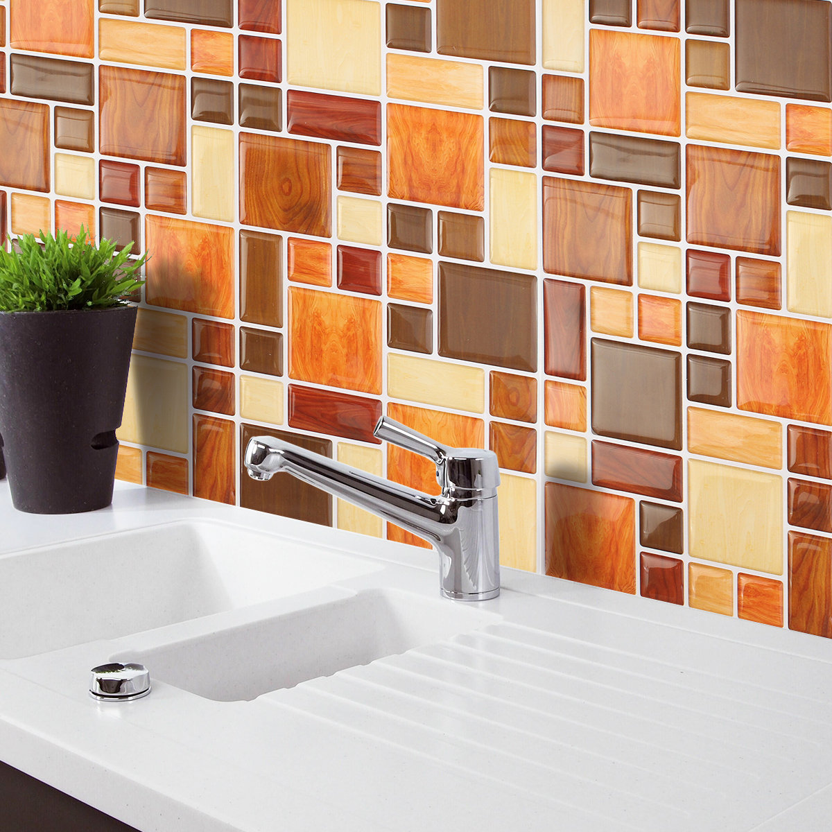 Home Decor Flash Sales Brown Creative 3d Mosaic Wall Stickers Backsplash Tile
