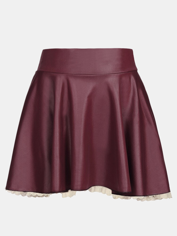 Women Sexy PU Leather Pleated Lace Hem Skirt