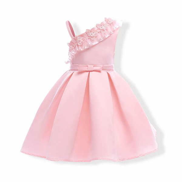 Pink Girls Floral Princess Party Dresses Toddler Formal Dress Ball ...