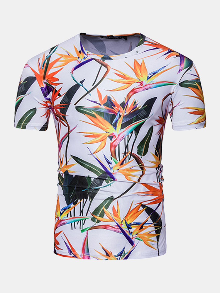 Summer Casual Tee Top 3D Hip-Pop Leaves Printed Round Neck Short sleeve T-shirt for Men