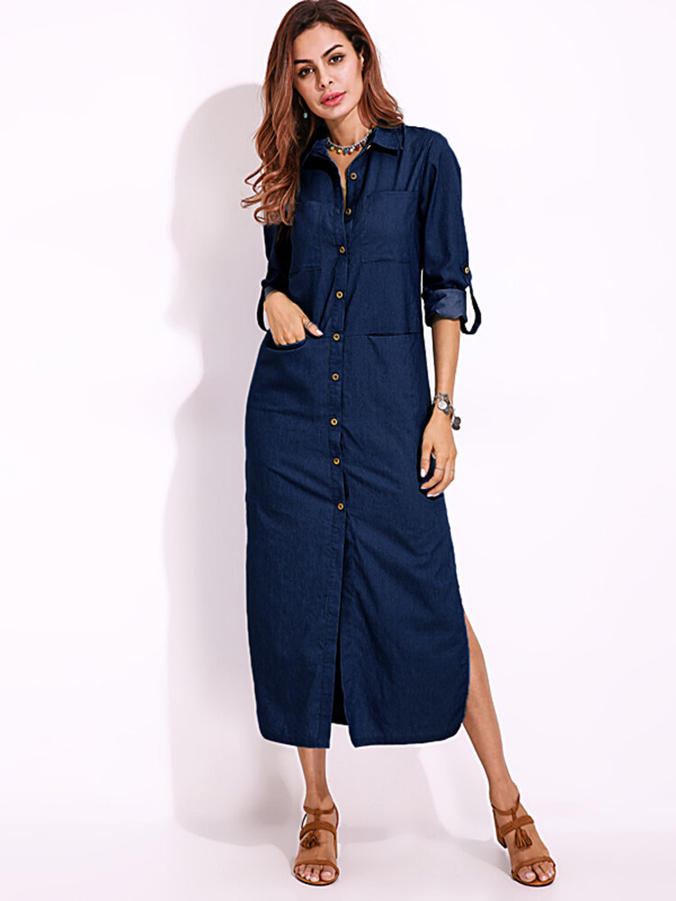 Vintage Women Long Sleeve Buttons Side Split Denim Maxi: women s long sleeve shirt dress