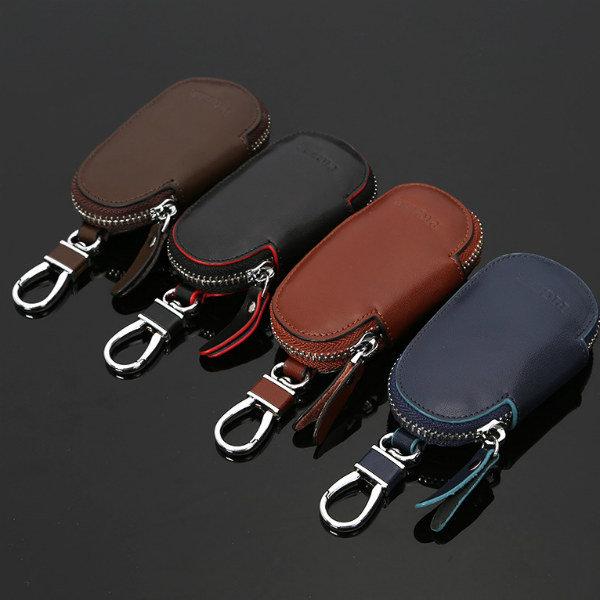 Mujeres hombres de cuero genuino de cremallera portátiles auto coche llave de cadena alejada bolsas bolsa
