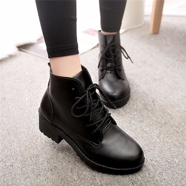 Designer Black Lace Up Block Heel Riding Ankle Boots - NewChic