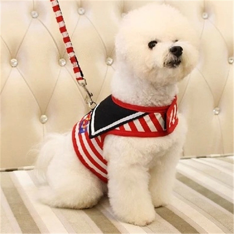Navy Type Adjustable Comfort Soft Breathable Dog Harness Pet Vest Rope Dog Chest Strap Collar Leads