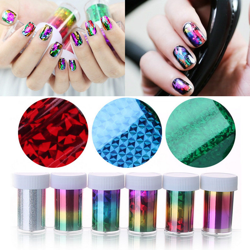 Gradient Starry Sky Nails Foil Holographic Paper Decals Decor Nail
