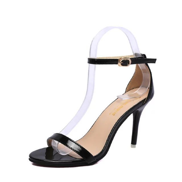Shiny Peep Toe High Heel Buckle Sandals For Women