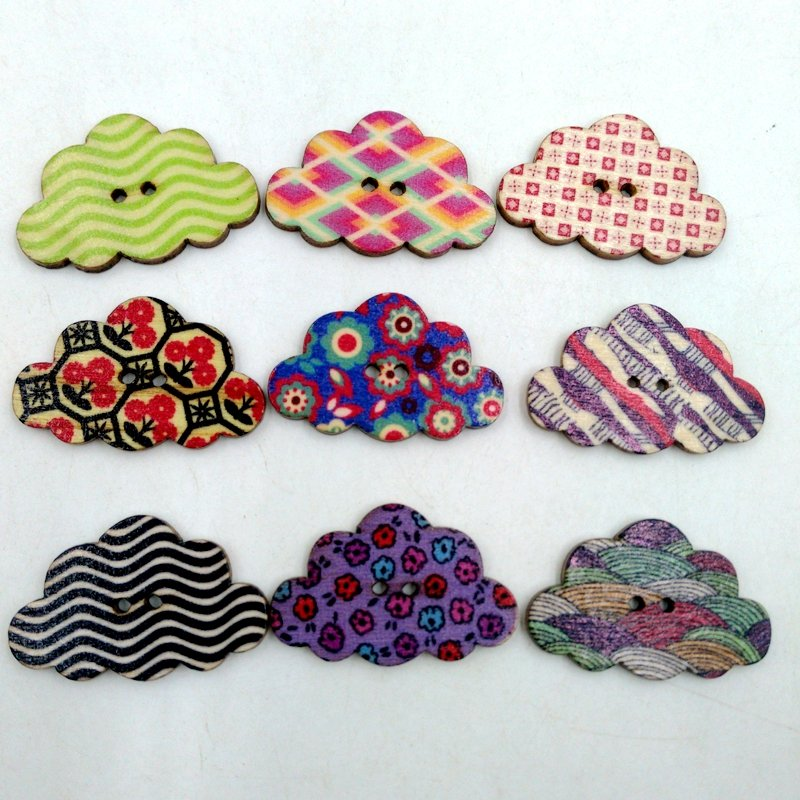 50 Pcs Colorful Clouds Shaped Wooden Sewing Buttons