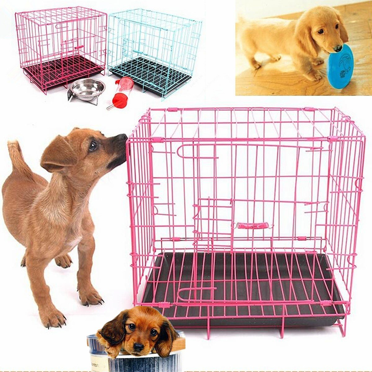 35x28x35cm Folding Dog Cage Rabbit Puppy Crate Metal Training Pet Carrier  Play Kennel