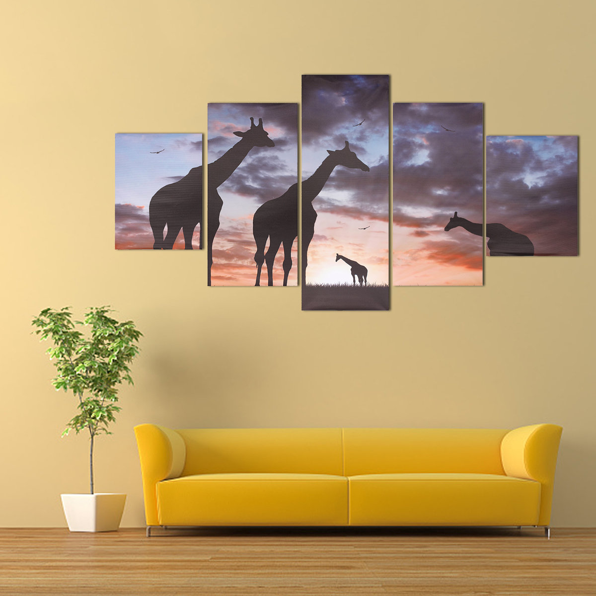 5Pcs Modern Canvas Painting Frameless Wall Art Giraffes Bedroom ...